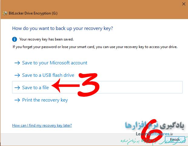 ذخیره کلید بازگردانی در یک فایل