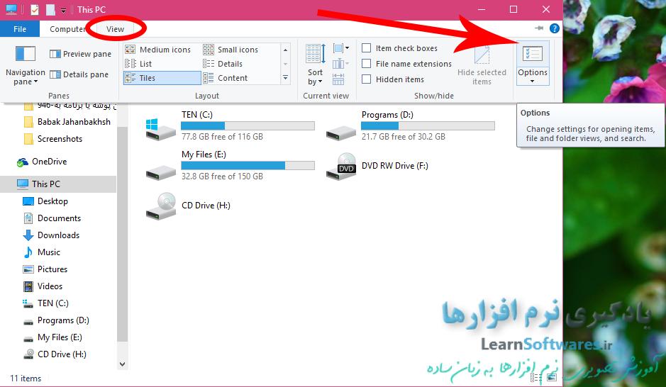 نمایش فایل ها و پوشه های مخفی در ویندوز 10