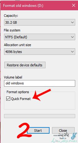 فرمت درایو برای حذف کامل ویندوز مورد نظر