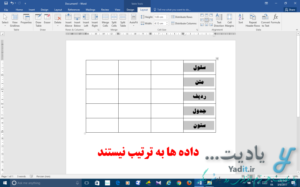 مرتب سازی خودکار داده ها و اطلاعات داخل ستون های جدول در ورد