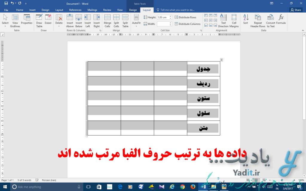 مرتب سازی خودکار داده ها و اطلاعات داخل ستون های جدول بر اساس حروف الفبا در نرم افزار ورد و پاورپوینت