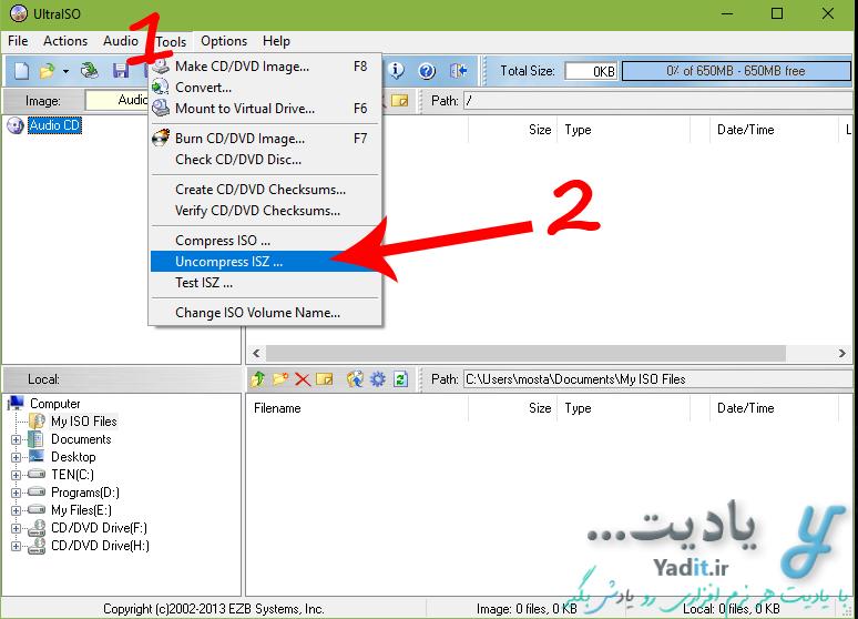 خارج کردن فایل های ایمیج با فرمت ISZ از حالت فشرده با استفاده از نرم افزار UltraISO