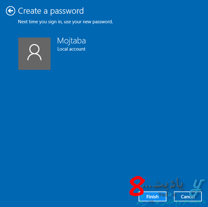 ایجاد رمز عبور (Password) برای ورود به ویندوز 10