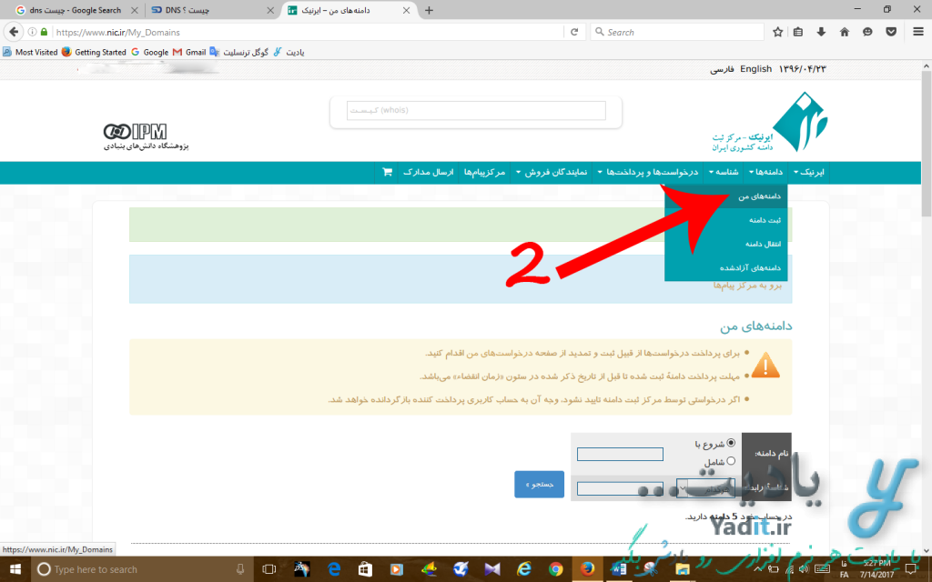 انتخاب دامنه ی مورد نظر برای تغییر DNSهای یک دامنه ی ملی ایران