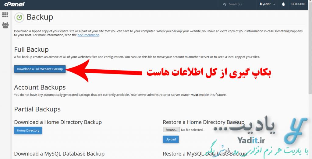 بکاپ گیری (Backup) کامل از سایت در Cpanel و بازگردانی (Restore) آن