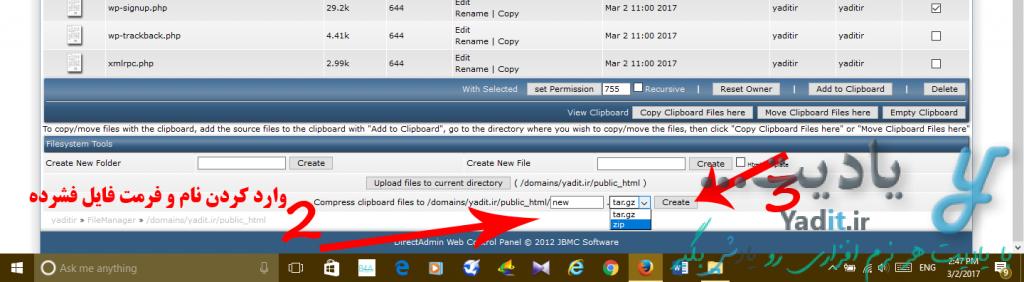 وارد کردن فرمت و نام فایل فشرده برای فشرده کردن فایل های داخل هاست در کنترل پنل DirectAdmin