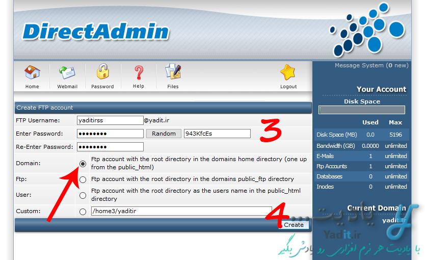 وارد کردن اظلاعات مورد نیاز برای ساخت اکانت FTP در کنترل پنل DirectAdmin