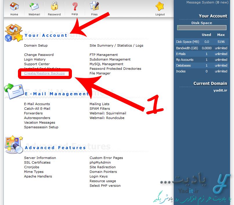 بکاپ گیری (Backup) کامل از سایت در کنترل پنل DirectAdmin
