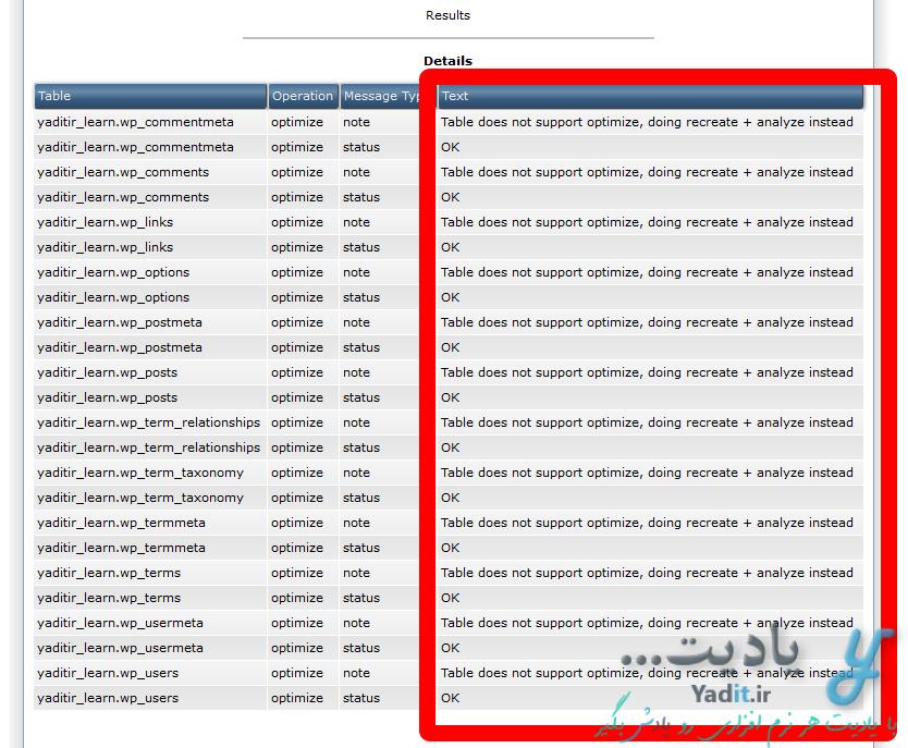 نتایج بهینه سازی پایگاه داده (Database)