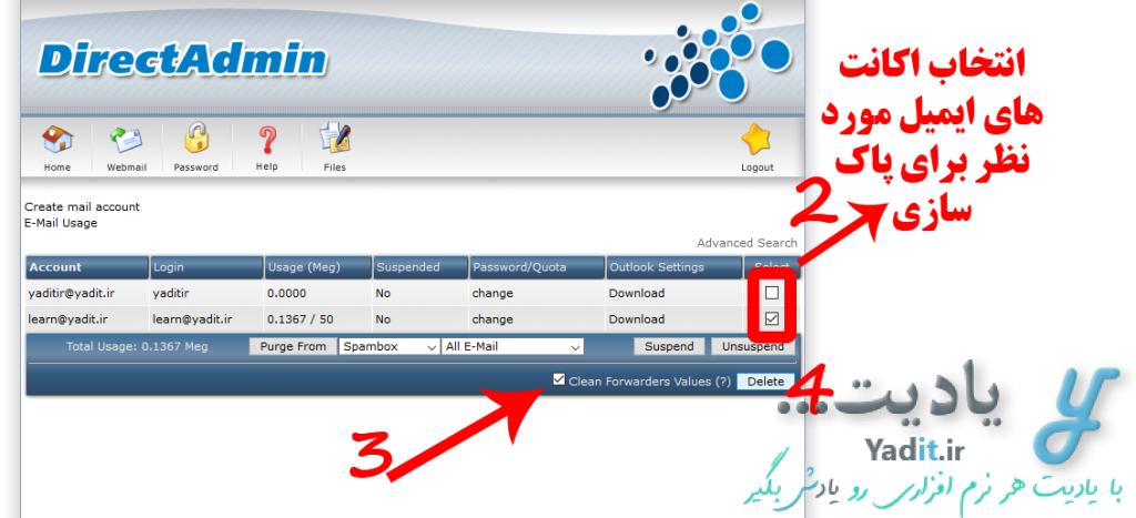 حذف اکانت یا اکانت های ایمیل مورد نظر در DirectAdmin