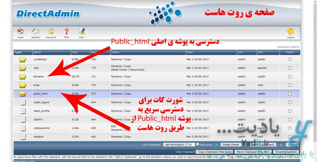 آشنایی با محل نگهداری فایل های سایت در کنترل پنل های DirectAdmin و Cpanel