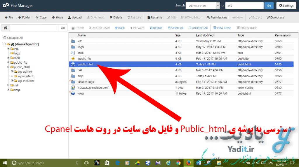 محل نگهداری فایل های سایت در کنترل پنل Cpanel