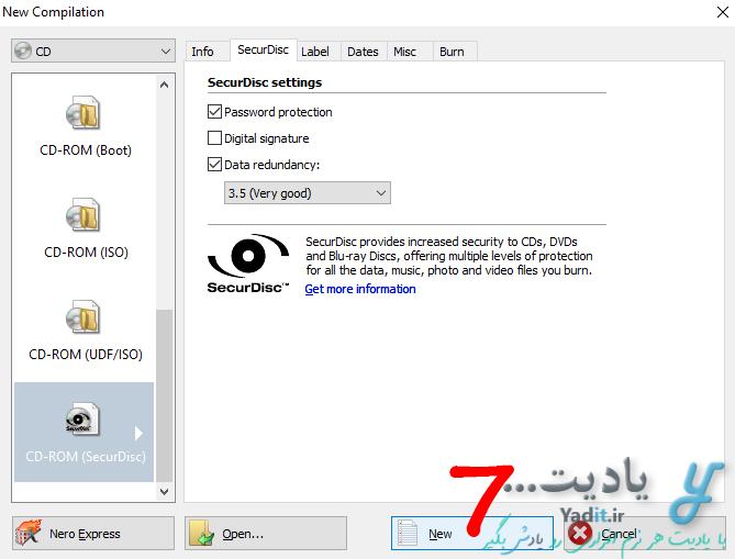 انجام دیگر تنظیمات و شروع عملیات رایت دیسک قفل دار
