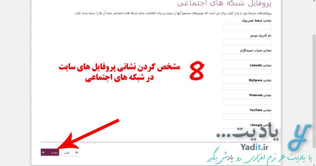 مشخص کردن نشانی پروفایل های سایت در شبکه های اجتماعی