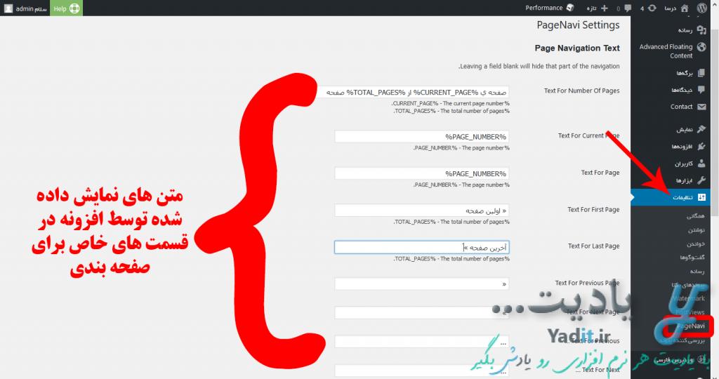 تنظیمات موجود برای افزونه WP-PageNavi