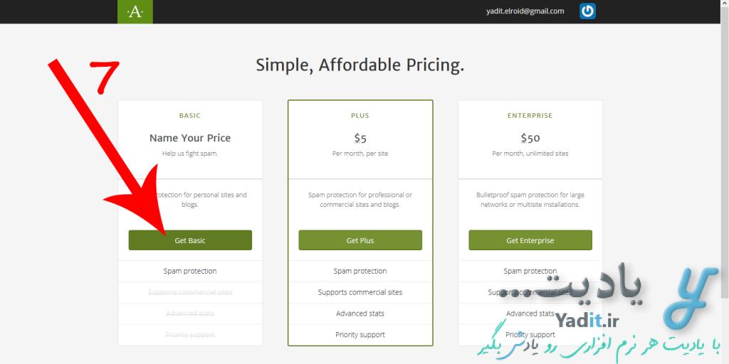 انتخاب پنل مورد نظر برای دریافت کد API برای راه اندازی افزونه Akismet