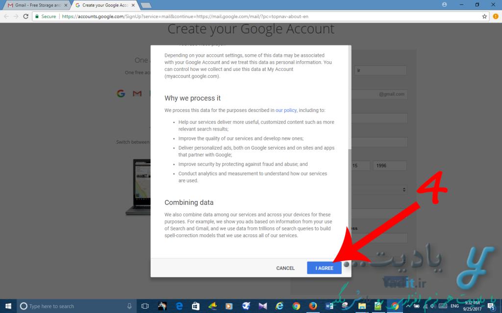 پذیرفتن قوانین برای ساخت اکانت ایمیل گوگل با استفاده از سرویس Gmail