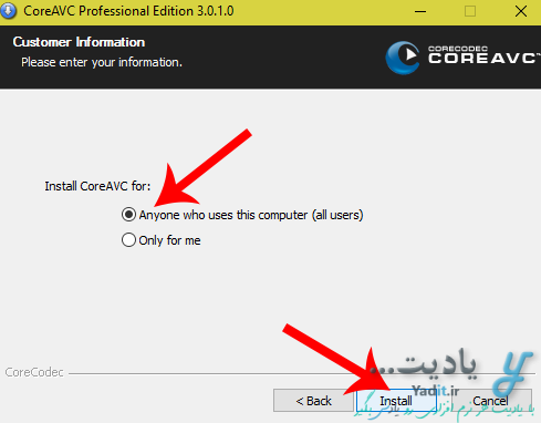 آموزش نصب کدک CoreAVC.Professional