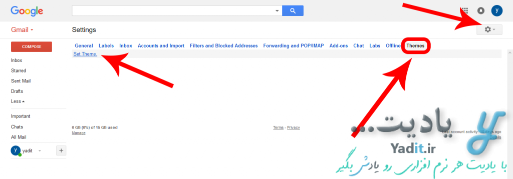 ورود به تنظیمات برای تغییر تم و ظاهر محیط جیمیل (Gmail)