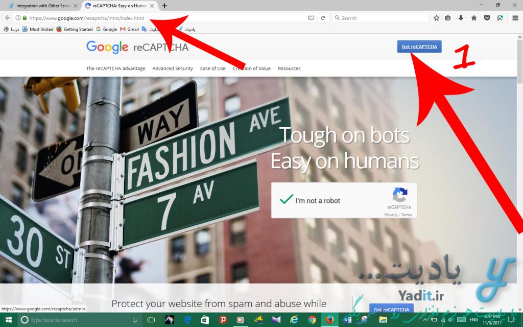 آموزش ثبت نام و معرفی دامنه به سرویس reCAPTCHA گوگل و دریافت کد و شناسه اختصاصی آن