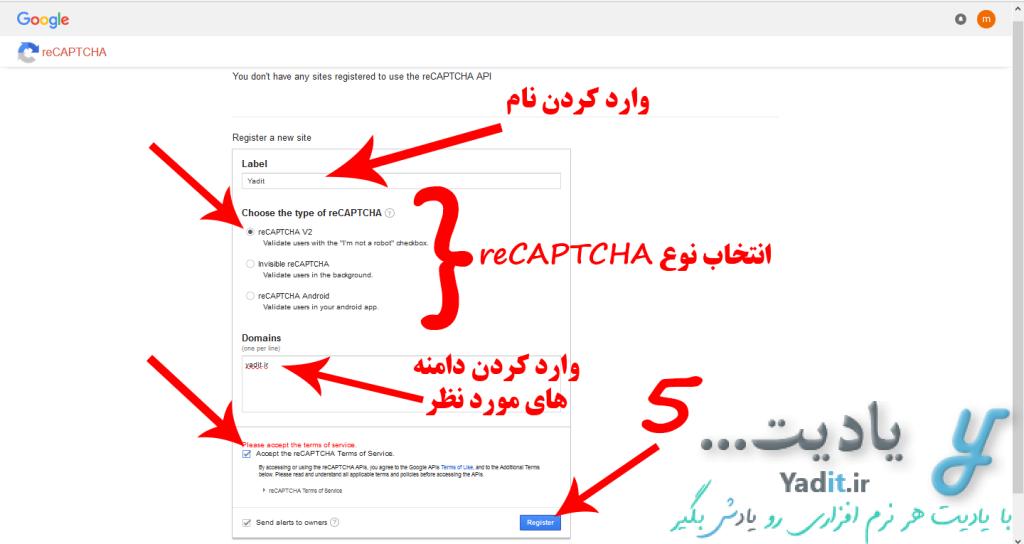 وارد کردن مشخصات مورد نیاز برای دریافت کد و شناسه ریکپچا (reCAPTCHA) مخصوص سایت