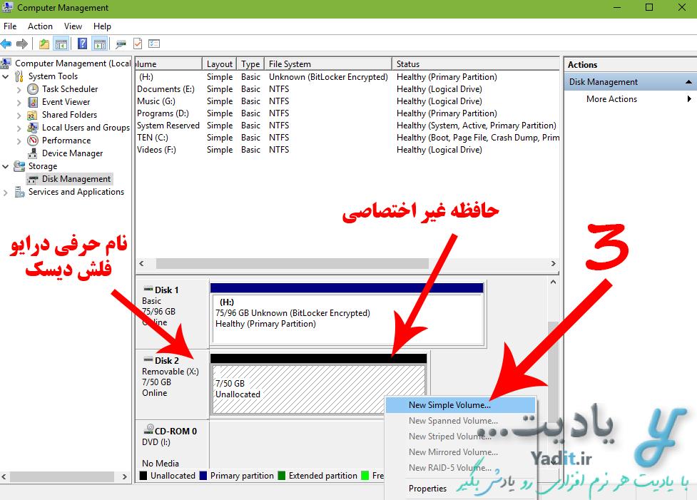 رفع مشکل فرمت نشدن فلش دیسک در ویندوز با حافظه اختصاصی کردن دوباره فلش