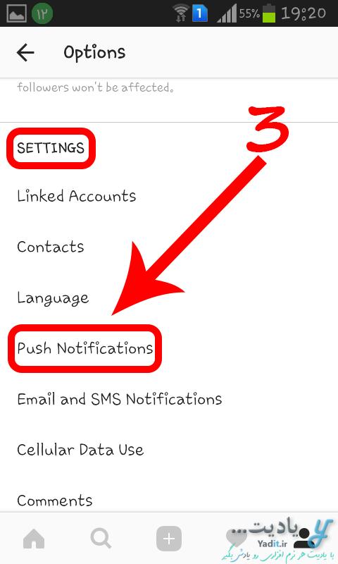 انتخاب Push Notifications در تنظیمات برای فعال کردن یا غیر فعال کردن نمایش اعلانات (Notifications) اینستاگرام