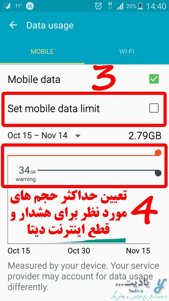 اعمال محدودیت های مورد نظر در مصرف حجم اینترنت دیتای گوشی