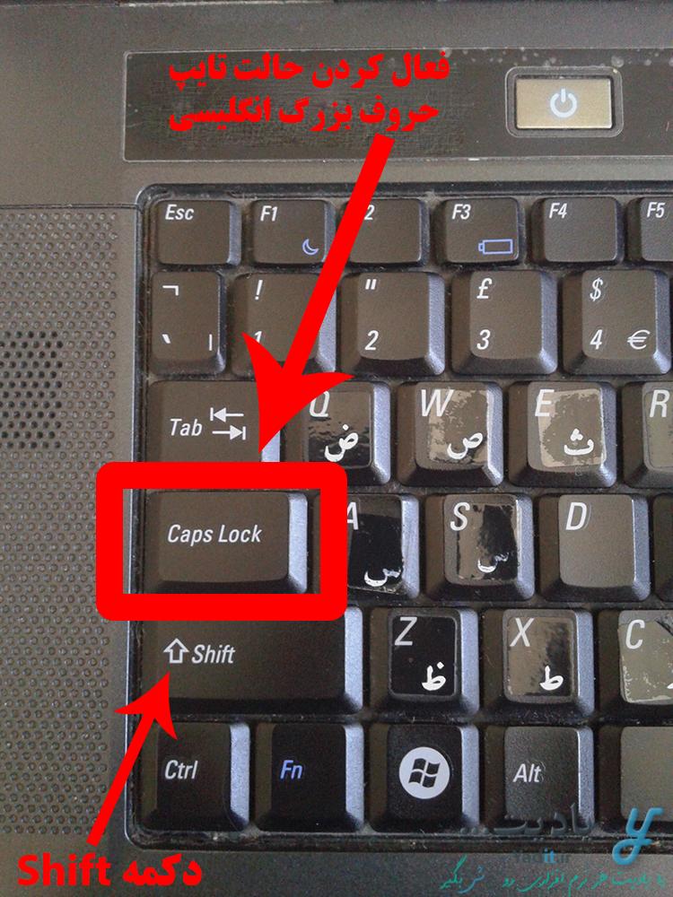 فعال کردن حالت تایپ حروف بزرگ انگلیسی با دکمه Caps Lock کیبورد