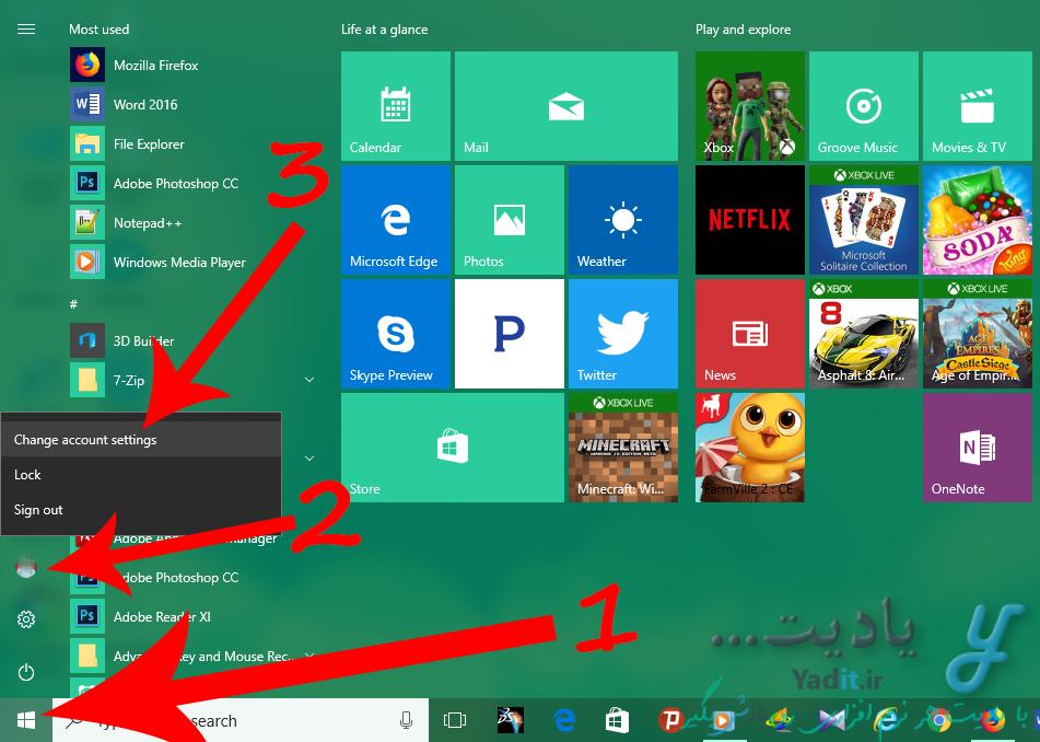 ورود به تنظیمات اکانت ویندوز برای خروج از اکانت مایکروسافت (Microsoft Account)