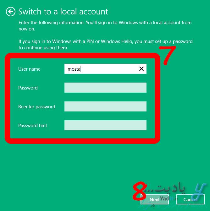 وارد کردن نام کاربری دلخواه برای ایجاد اکانت محلی پس از خروج از اکانت مایکروسافت در ویندوز 10