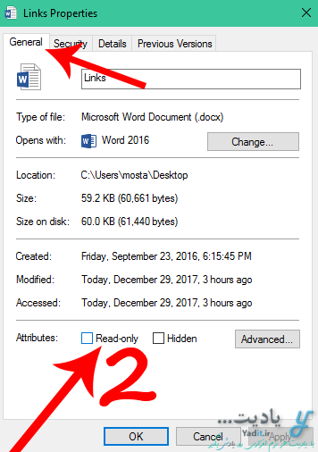 Read only کردن فایل های دلخواه در ویندوز