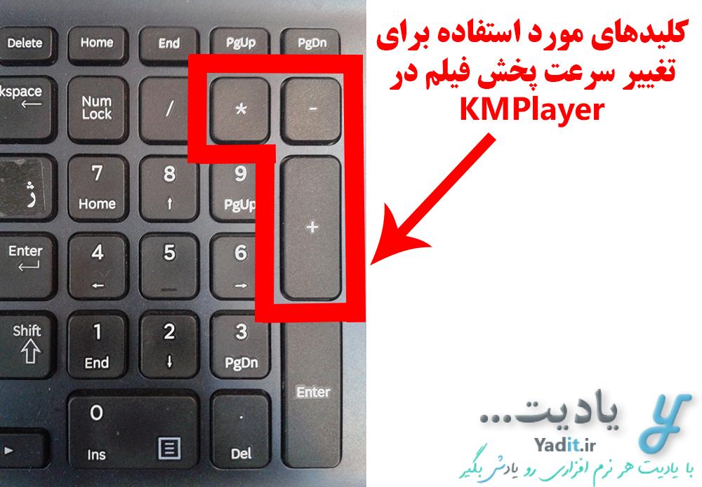 روش آسان افزایش سرعت پخش فیلم در KMPlayer با استفاده از کلیدهای بخش اعداد سمت راست کیبورد