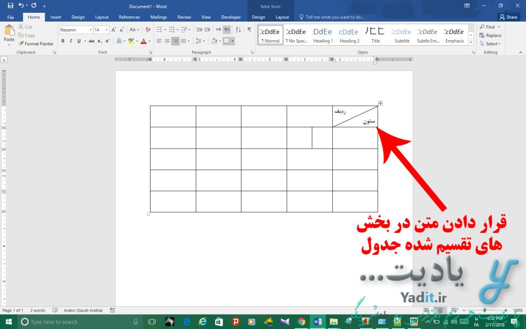 قرار دادن متن در بخش های تقسیم شده در جدول ورد