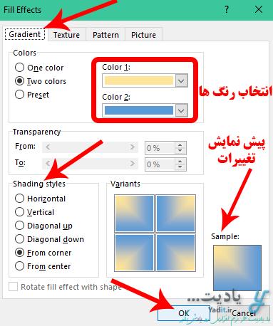 آموزش استفاده از دو رنگ (Gradient) به عنوان پس زمینه صفحات در ورد (Word)