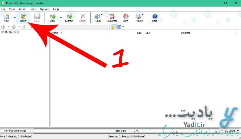 باز کردن فایل ایمیج در PowerISO