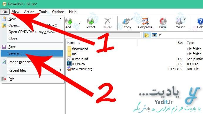 ذخیره فایل ایمیج ویرایش شده با استفاده از نرم افزار PowerISO در کنار فایل قبلی