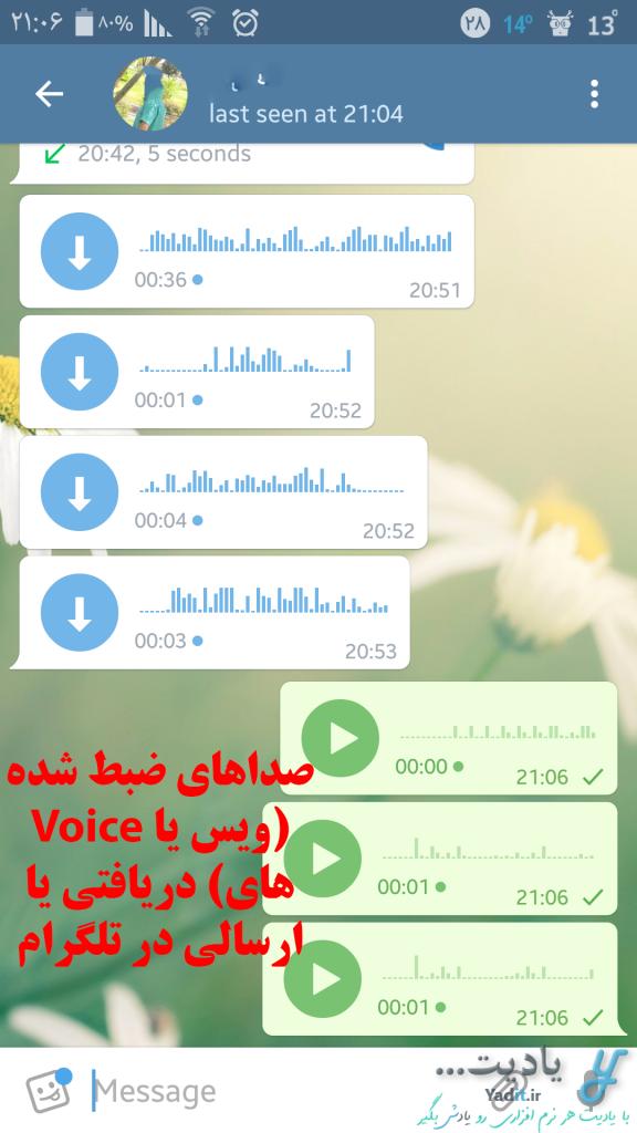 صداهای ضبط شده (ویس یا Voiceهای) دریافتی یا ارسالی در تلگرام