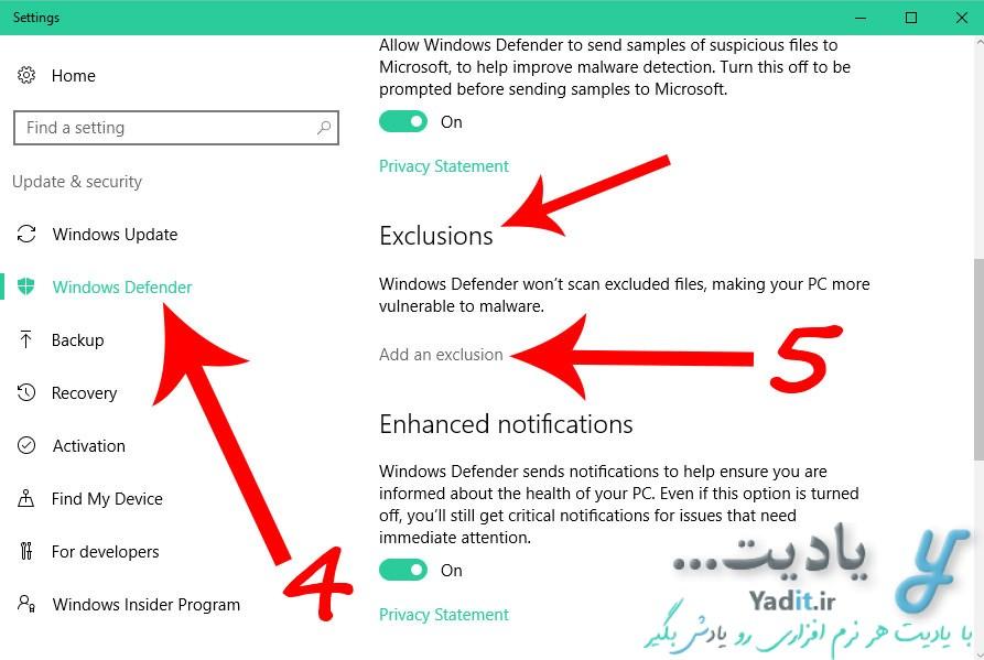 ورود به تنظیمات اعتمادسازی فایل ها و پوشه ها به آنتی ویروس وبندوز دیفندر
