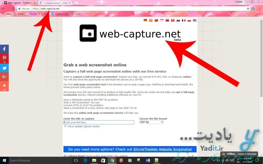 ورود به سایت web-capture برای ذخیره صفحه ی یک وب سایت به صورت عکس