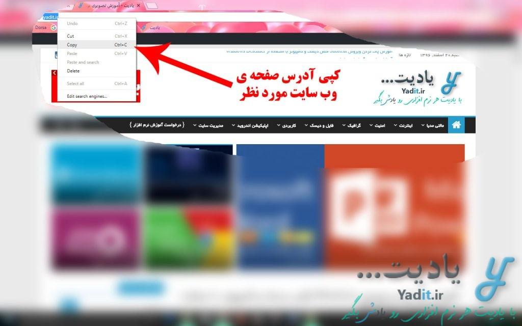 کپی آدرس صفحه ی وب سایت مورد نظر برای گرفتن اسکرین شات از آن