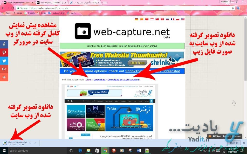 دانلود تصویر گرفته شده از وب سایت مورد نظر