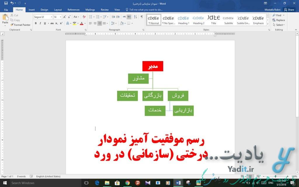 رسم موفقیت آمیز نمودار درختی (سازمانی) در ورد