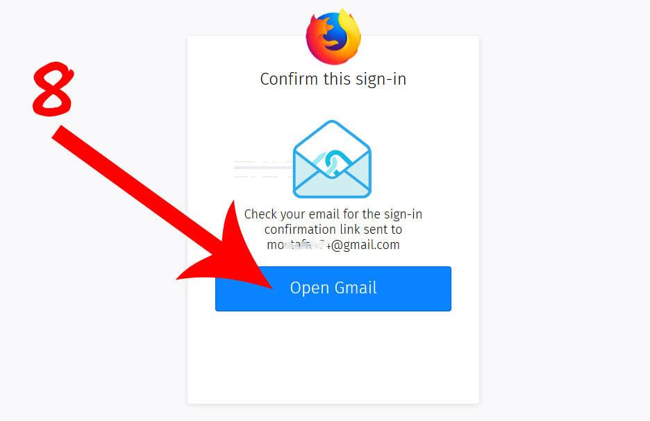 چک کردن ایمیل برای تایید هویت صاحب اکانت فایرفاکس