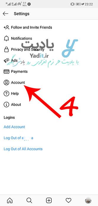 ورود به تنظیمات اکانت اینستاگرام برای فعال کردن حساب کسب و کار (Business Account)
