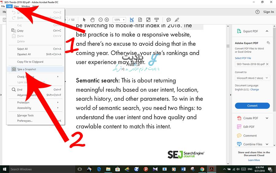 روش گرفتن اسکرین شات از بخش مورد نظر از فایل PDF