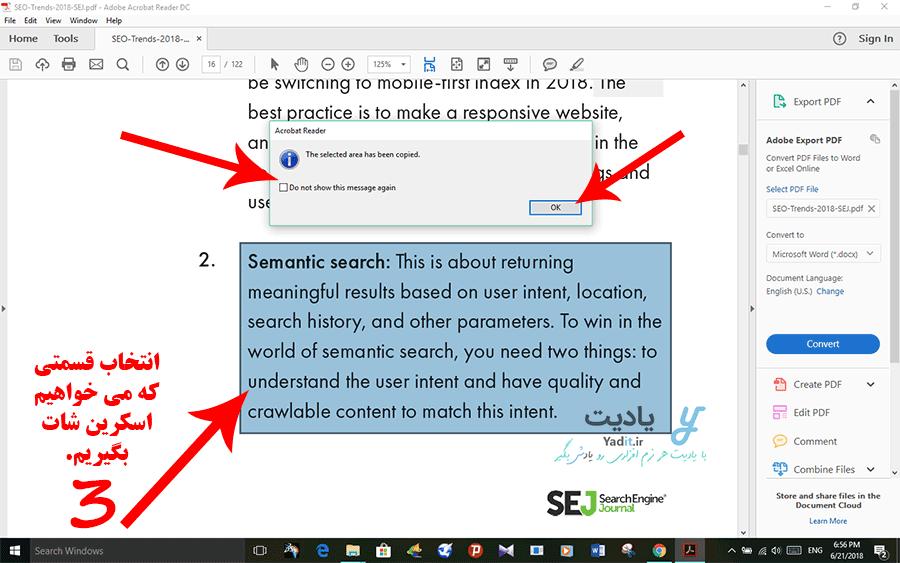 انتخاب قسمت مورد نظر برای گرفتن اسکرین شات از فایل PDF