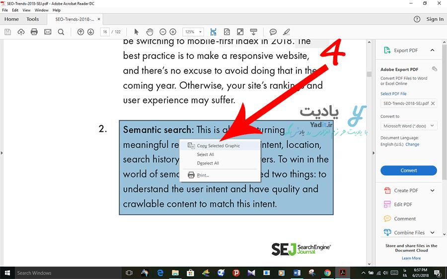 گرفتن اسکرین شات از بخش مورد نظر از فایل PDF