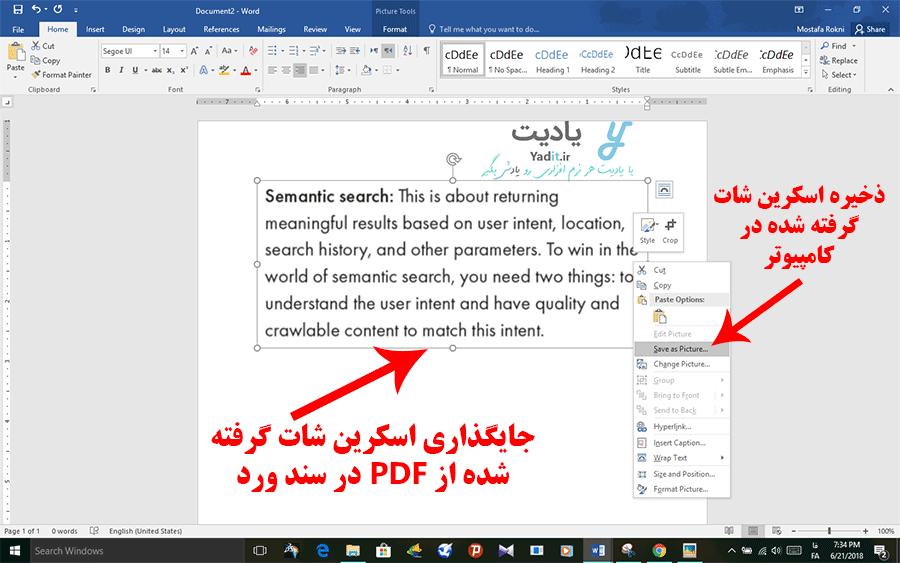 ذخیره اسکرین شات گرفته شده از فایل PDF