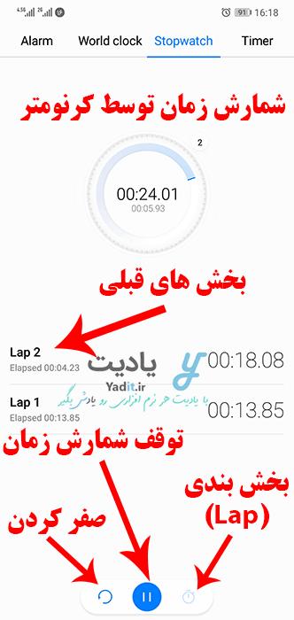 امکانات موجود در استفاده از کرنومتر (Stopwatch) گوشی های اندروید